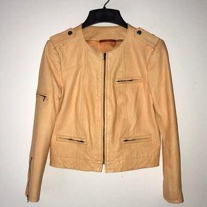 Alice + Olivia Orange Leather Jacket